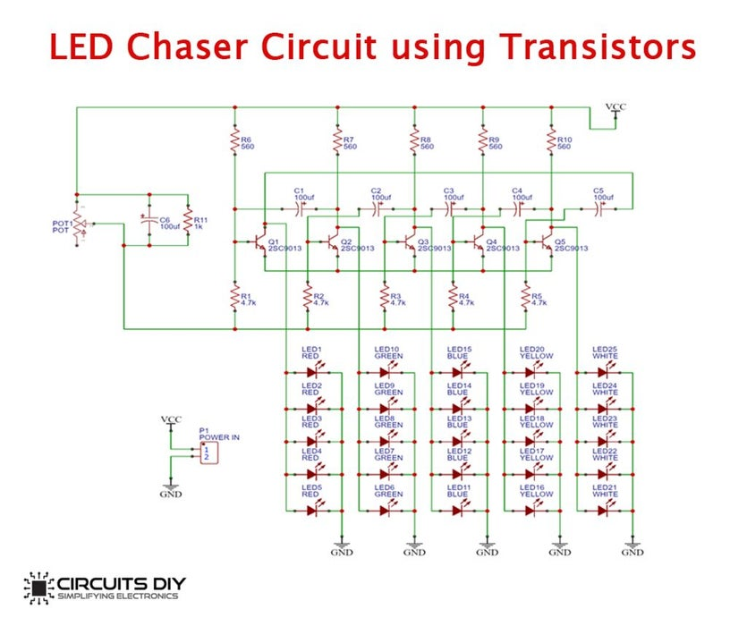 LED Chaser Circuit using Transistors | Hackaday.io
