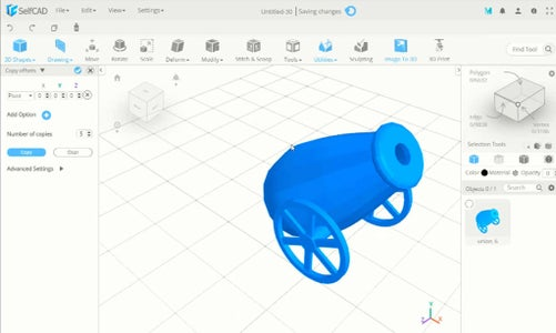 SelfCAD 3D Cannon Modeling