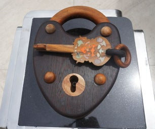 Giant Wooden Pad Lock and Key