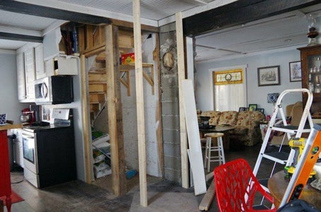 Removing the Wood Stove and Moving the Closet Door