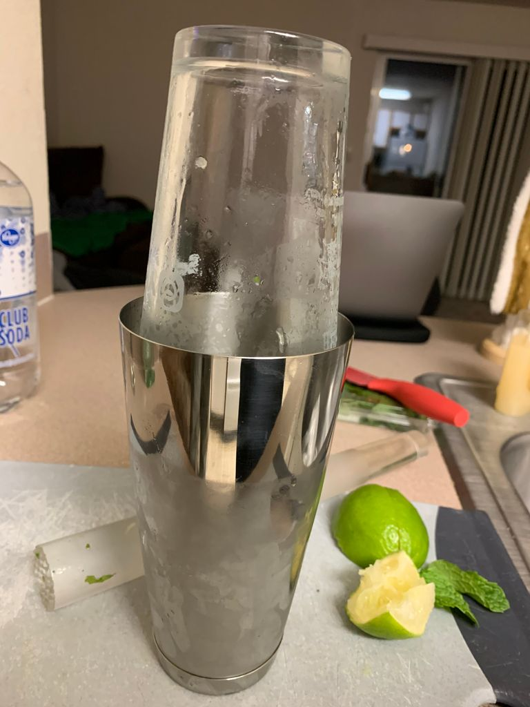Picture of Step 4: Cover the Shaker With a Pounder Glass and Shake