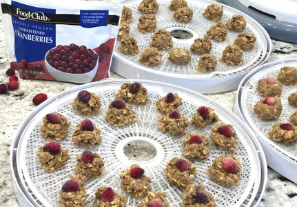 Scoop, Arrange on Dehydrator Trays and Add Cranberry