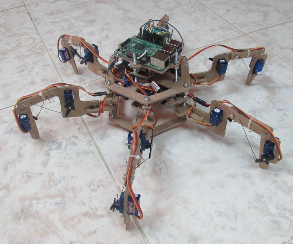The Hexapod Robot (Spider Robot With Six Legs) Made From Wood.
