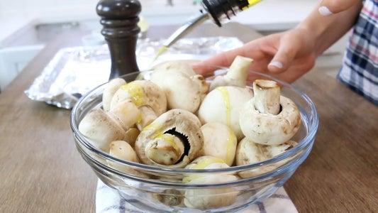 Toss Mushrooms in Oil, Salt and Pepper
