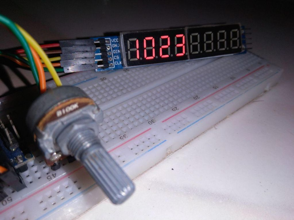 Picture of 7-segment to Display ADC #Arduino Values, #Arduino