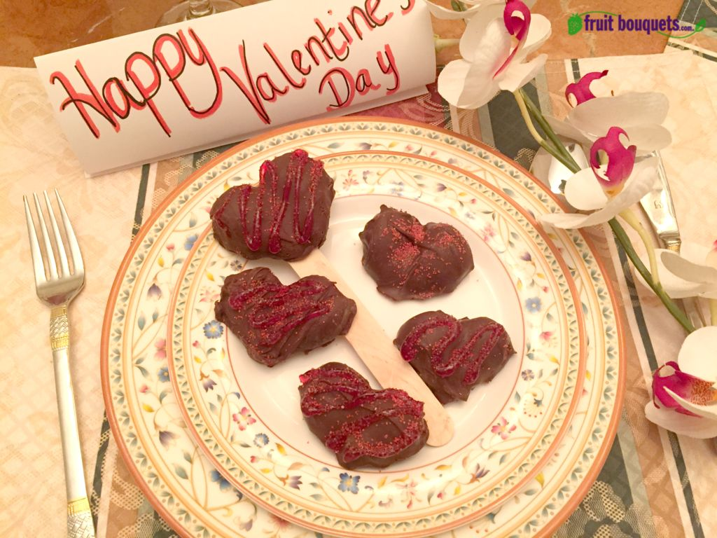 Picture of Fruit Bouquets' How to Make Valentines Chocolate Covered Strawberry Candy Hearts