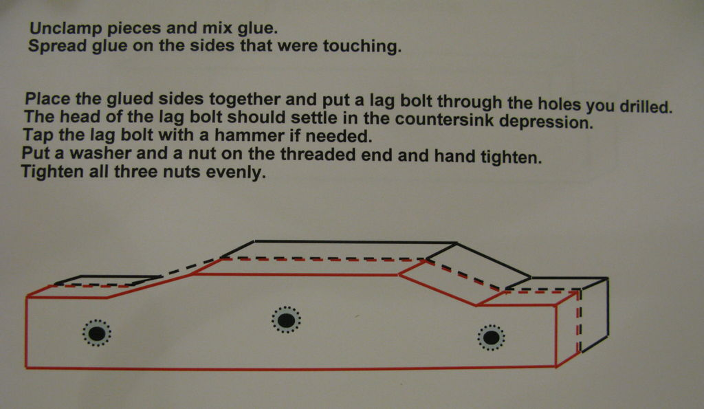 Picture of STEP EIGHT:  Drill Lag Bolt Holes and Glue Pieces Together