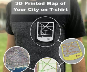 3D Printed Map of Your City on T-shirt