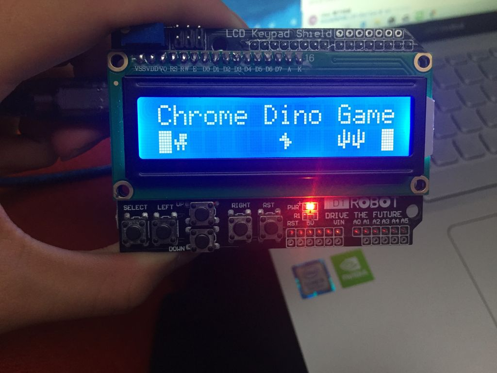 Picture of The Chrom Dino Game on LCD Shield