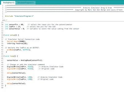 Step 4: Change the Original Code to the Arduino Simulator Code (library)