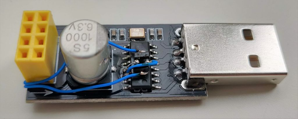 Picture of USB Adapter Board for ESP-01 Changed for Fast Download