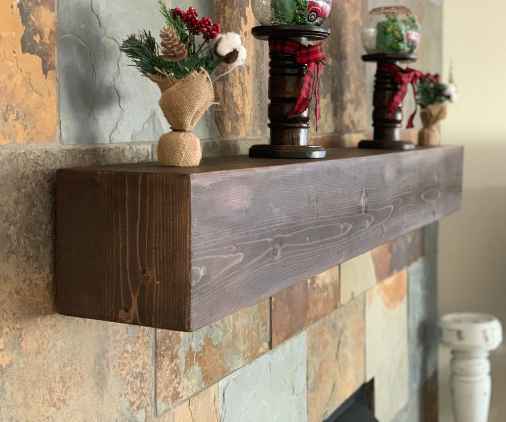 Rustic Faux Beam Mantel for Under $30