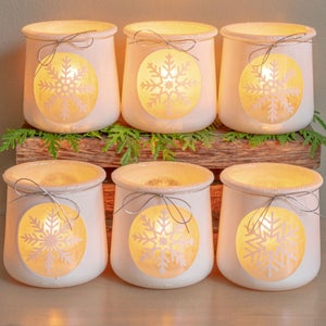 Winter Snowflake Craft: DIY Votive Holders From Up-cycled Oui Jars