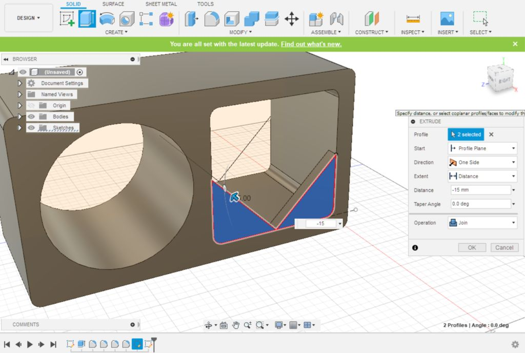 Picture of Fusion 360 Design: Extruding the Retaining Walls