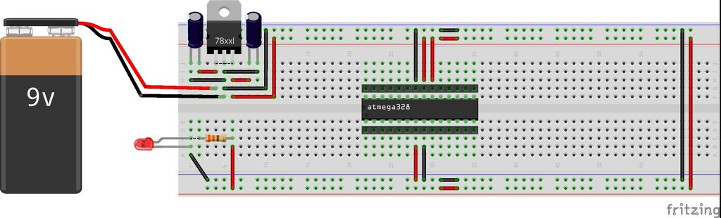 Picture of ATmega328P-PU Interconnection