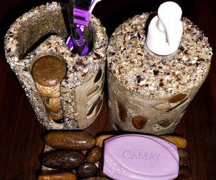 混凝土和卵石浴盆组:牙刷架,肥皂架,肥皂分配器