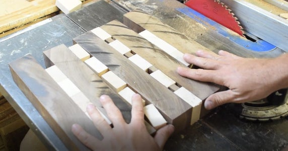 Cutting Walnut Between Maple
