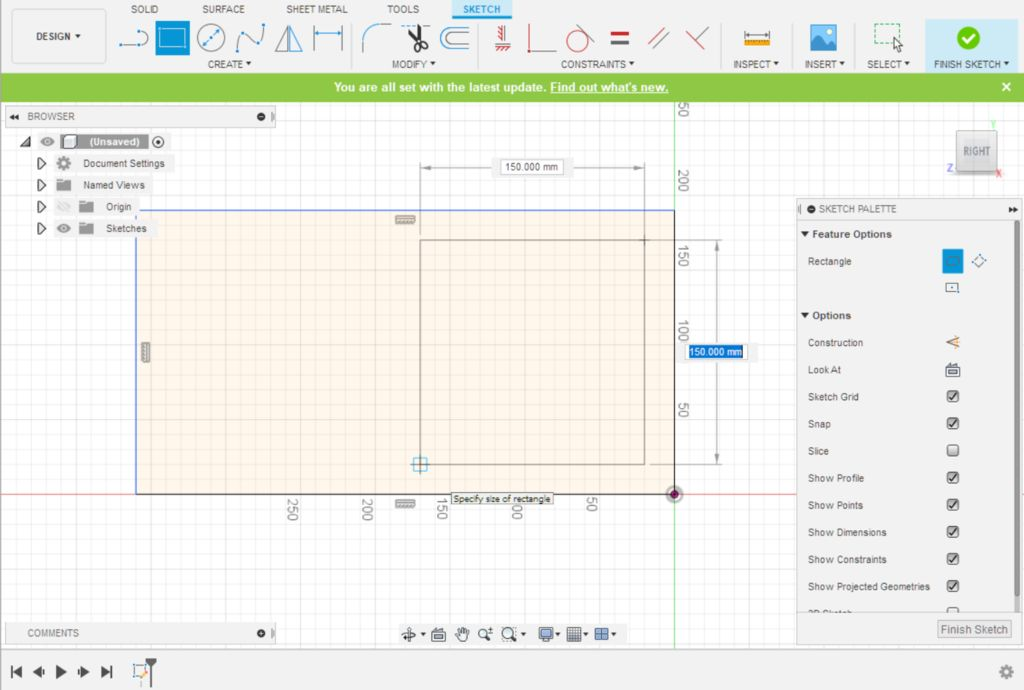 Picture of Fusion 360 Design: Sketching the First Cutout