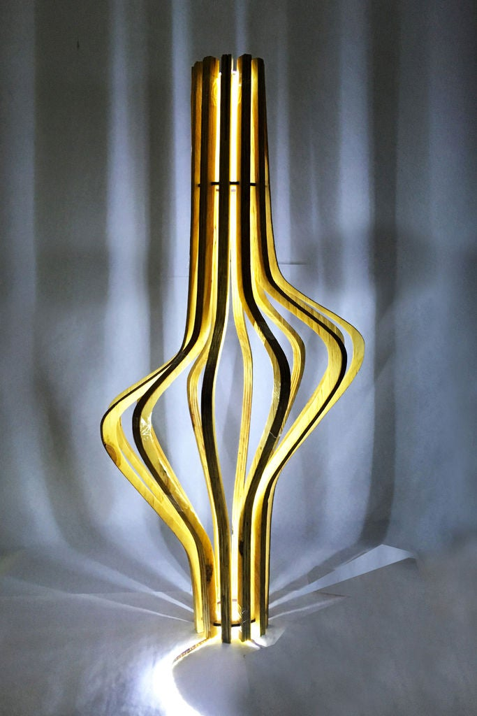 Picture of Cnc Wood Sculpture // Floor Lamp