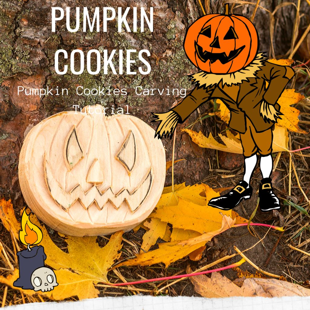Picture of Pumpkin Carving Out of Wood - Pumpkin Cookies I Easy Wood Carving for Beginners