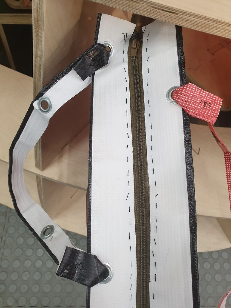 Picture of Sew the Closure Strap for the Bag.
