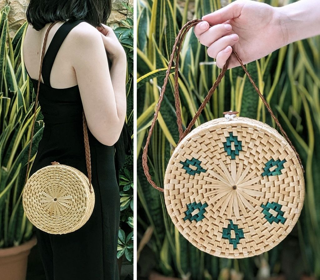 Picture of UPCYCLED: Round Straw Bag From a Thrifted Basket