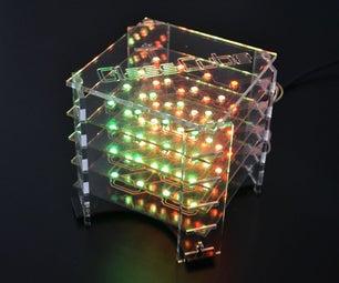 GlassCube - 4x4x4 LED Cube on Glass PCBs