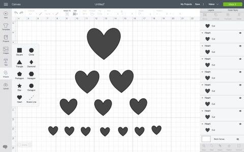 Draw the Hearts in Cricut Design Space