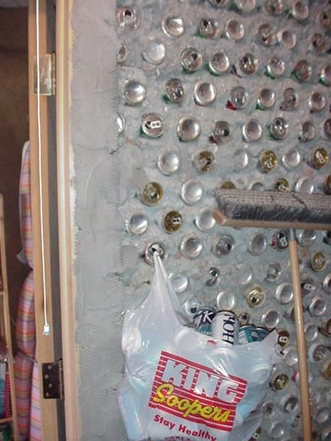 Picture of Papercrete and Aluminum Can Wall