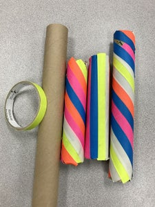 Step 5: Use Neon Tapes Rape Around the Recycled Cardboard Tubes.