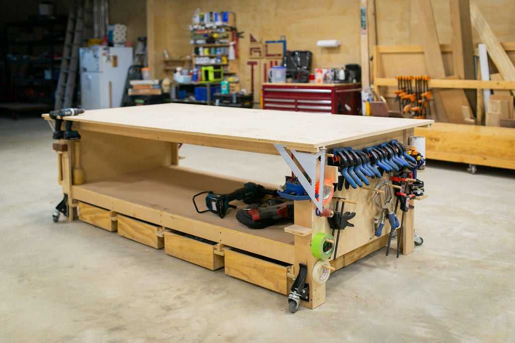 Astonishing The Ultimate Plywood Workbench Plus Shop Storage Solutions Customarchery Wood Chair Design Ideas Customarcherynet