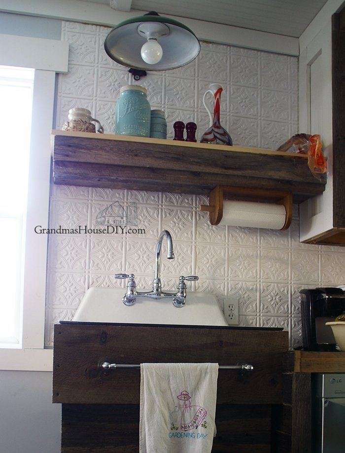 Picture of Replacing My Barnwood Shelf With Two Open Shelves Above My Kitchen Sink
