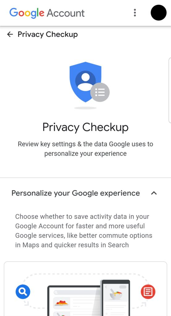 Picture of Go Through the Privacy Checkup Guide
