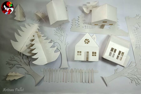 Houses and Trees for Christmas Village