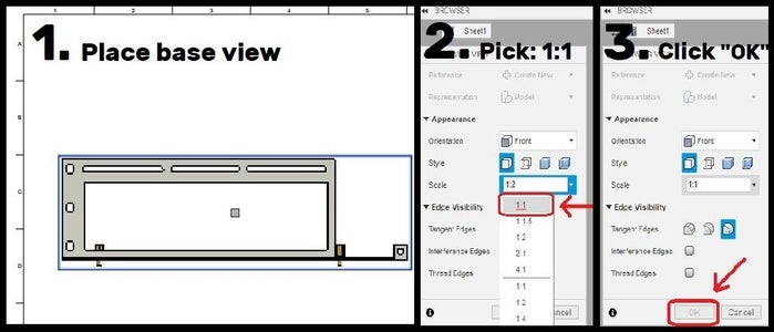 "Place View > Pick 1:1 Scale > Press ""OK"" > Optional Step to Avoid Wasted Sheets"