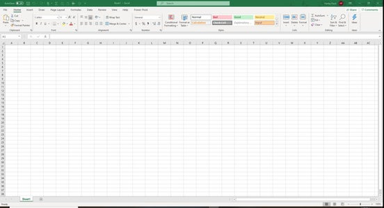 Open a New Microsoft Excel Spreadsheet