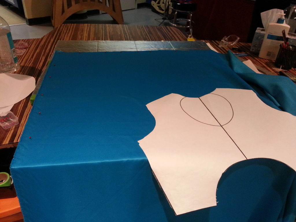 Picture of How to Pin Your Fabric on a Styrofoam Sewing Square for Cutting