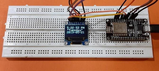 Internet Clock: Display Date and Time With an OLED Using ESP8266 NodeMCU With NTP Protocol