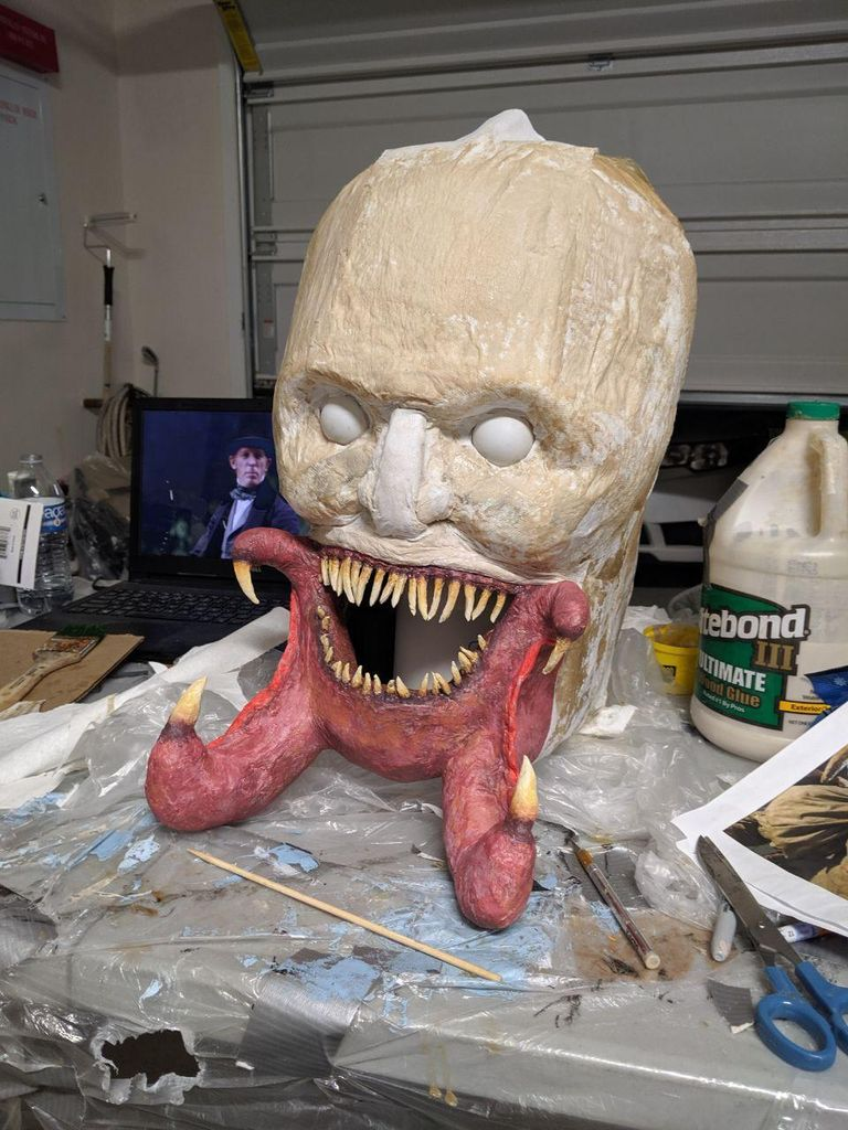 Picture of Adding Paper Mache Wood Glue to Form Head