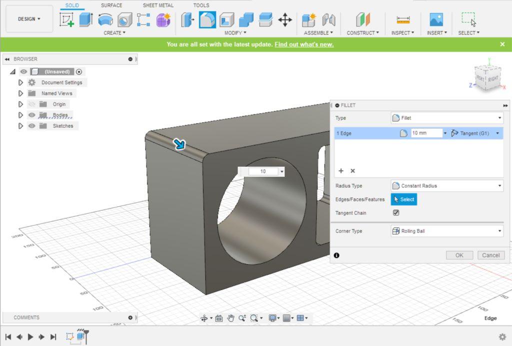 Picture of Fusion 360 Design: Adding 3D Corner Filets