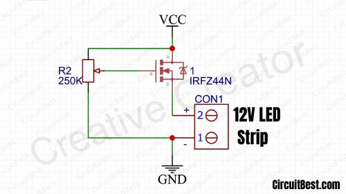 LED Dimmer Circuit With IRFZ44N MOSFET