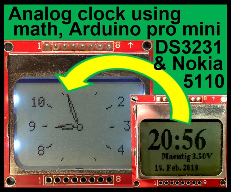 Picture of Analog Clock Using Math, Arduino Pro Mini, DS3231 and Nokia 5110