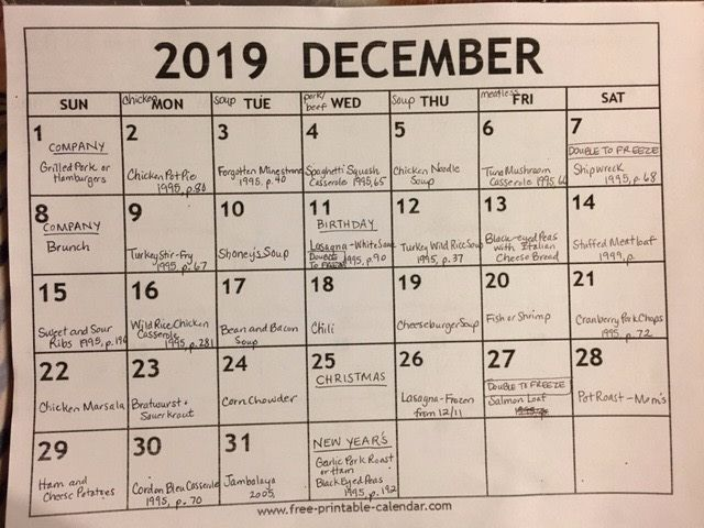 Picture of Meal Planning for a Month