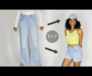 DIY牛仔礼帽和短裤套装从旧牛仔裤(初级缝纫)