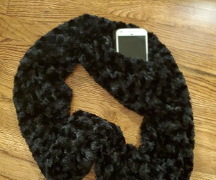 Faux Fur Mobius Infinity Scarf With Hidden Pocket