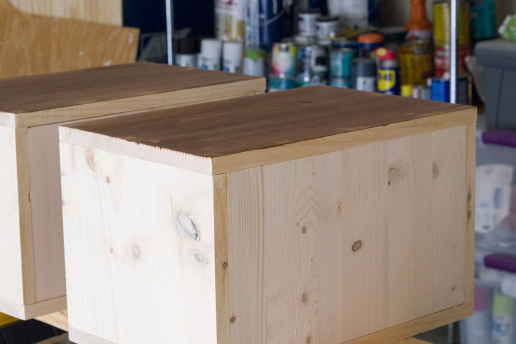 Picture of Step 4: Stain the Front Side of Each Storage Bin