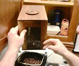 Walnut and Plexiglass Whole Bean Coffee Box