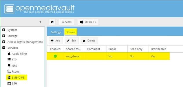 Configuring OMV: Services