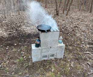 简单的煤渣块双燃烧器火箭炉灶