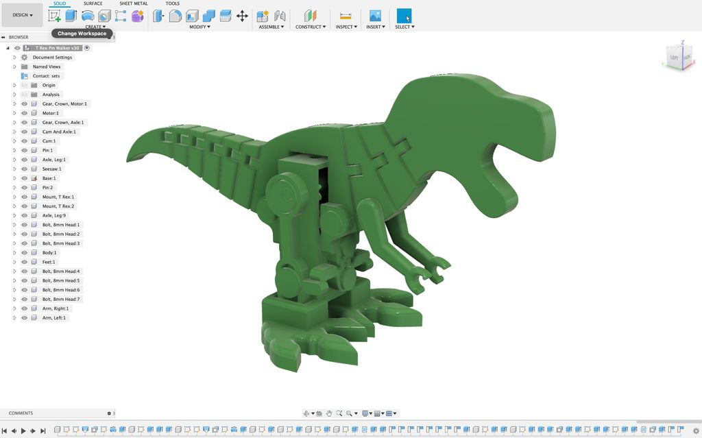Picture of Motorized, Articulated T Rex(ish) Pin Walker